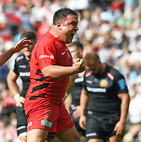 Rugby Union - 2019 Gallagher Premiership Final - Exeter Chiefs vs Saracens<br /> <br /> Saracens' Jamie George celebrates scoring their fifth try, at Twickenham Stadium.  <br /> <br /> COLORSPORT / ALAN WALTER