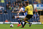 Danny Graham of Blackburn Rovers and Ben Turner of Burton Albion battle for the ball during the EFL Sky Bet Championship match between Blackburn Rovers and Burton Albion at Ewood Park, Blackburn, England on 20 August 2016. Photo by Simon Brady.