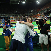 Gymnastics - Olympics: Day 9 Max Whitlock of Great Britain heads over to console team mate Louis Smith of Great Britain after taking the gold medal sport from him with his routine in the Men's Pommel Horse Final at the Rio Olympic Arena on August 14, 2016 in Rio de Janeiro, Brazil. (Photo by Tim Clayton/Corbis via Getty Images)