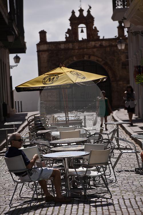 Outdoor cafe Calle del Cristo in Old San Juan, Puerto Rico.