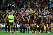 May 25th 2011: QLD Maroons watch on after a NSW Blues try during game 1 of the 2011 State of Origin series at Suncorp Stadium in Brisbane, Australia on May 25, 2011. Photo by Matt Roberts/mattrIMAGES.com.au / QRL