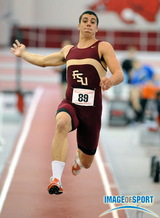 Mar 14, 2008; Fayetteville, AR, USA; Gonzalo Barroilhet of Florida State had a best mark of 24-4 1/4 (7.42m) for 915 points in the heptathlon long jump in the NCAA Indoor track and field championships at the Randal Tyson Center. Mandatory Credit: Kirby Lee/Image of sport-US PRESSWIRE