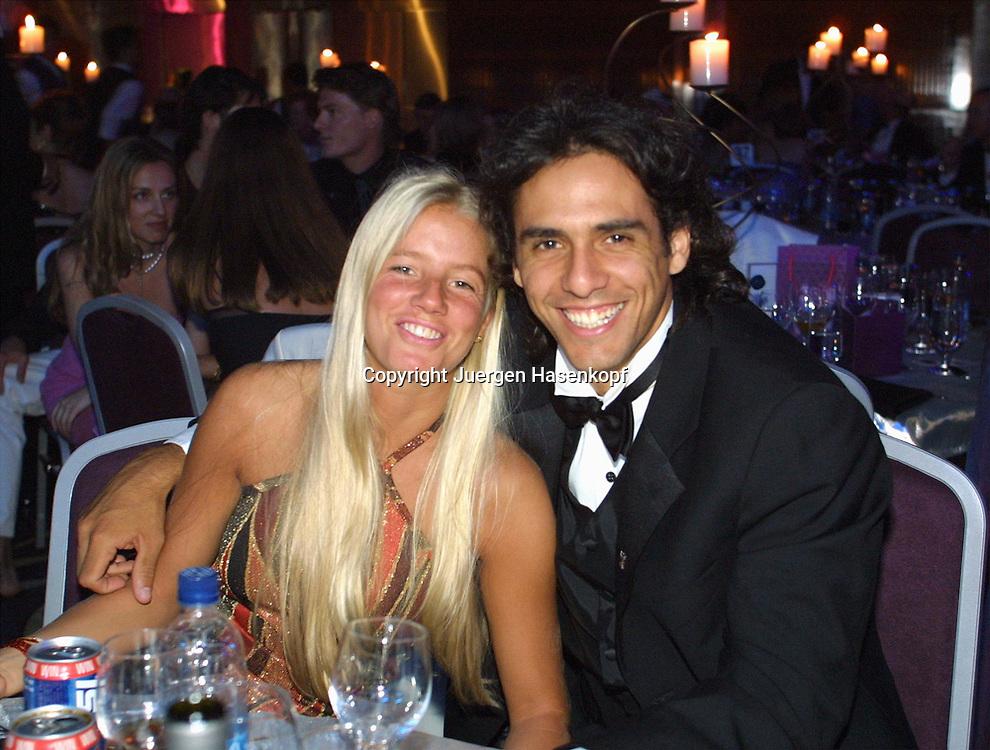 Sport,Tennis,Hopman Cup in Perth,Australien,Mixed<br /> Doubles WM,Mariano Zabaleta und Gisela Paramonti  beim Silvester Ball, 31.12.2001.