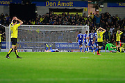 Burton have a shot that is just over the cross-bar of the goal during the EFL Sky Bet Championship match between Burton Albion and Birmingham City at the Pirelli Stadium, Burton upon Trent, England on 21 October 2016. Photo by Richard Holmes.