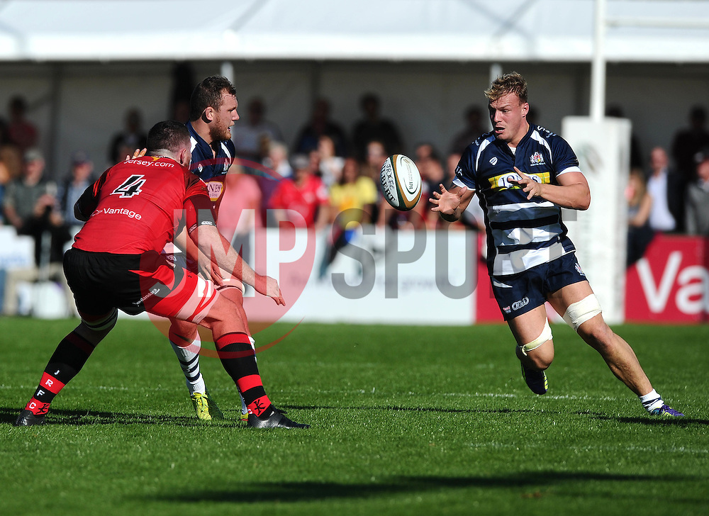 Bristol Rugby Flanker Nick Koster offloads the ball to Bristol Rugby Number 8 Mitch Eadie  - Mandatory byline: Joe Meredith/JMP - 07966386802 - 26/09/2015 - RUGBY - St. Peter -Saint Peter,Jersey - Jersey Rugby v Bristol Rugby - Greene King IPA Championship