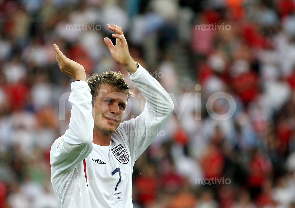 Fussball WM 2006 Achtelfinale in Stuttgart England - Ecuador David Beckham (ENG) nach dem 1:0 Sieg.