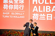 Hangzhou King Willem-Alexander of The Netherlands visit the Alibaba Campus in Hangzhou, China, 29 October 2015. The King and Queen are welcomed by host and founder Jack Ma. The King get some explanation about the Holland Week at the website of Alibaba and attend the launch of the Holland Pavillion. The King and Queen are in china for an 5 day state visit. COPYRIGHT ROBIN UTRECHT<br />