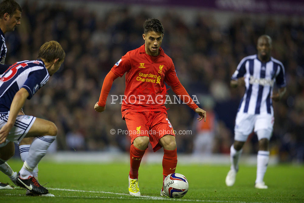 WEST BROMWICH, ENGLAND - Wednesday, September 26, 2012: Liverpool's 'Suso' Jesus Joaquin Fernandez Saenz De La Torre in action against West Bromwich Albion during the Football League Cup 3rd Round match at the Hawthorns. (Pic by David Rawcliffe/Propaganda)
