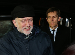 © Licensed to London News Pictures. FILE PICTURE. 11/12/2015. London, UK. Labour party leader Jeremy Corbyn (L) arrives a Stop the War Coalition fundraising dinner at the EV restaurant via the back door followed by his Director of Communications Seumas Milne. A BBC Panorama documentary, focusing on alleged anti semitism in the Labour Party is due to run this evening. Photo credit: Peter Macdiarmid/LNP