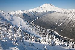 North America, United States, Washington,  Winter views of frosted trees, White River and Mount Rainier, viewed from Crystal Mountain Ski Resort.
