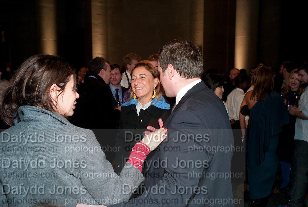 LISA ARMSTRONG; MIUCCIA PRADA; ED VAIZEY, Turner Prize 2010. Tate Britain. Millbank. London. 6 December 2010. -DO NOT ARCHIVE-© Copyright Photograph by Dafydd Jones. 248 Clapham Rd. London SW9 0PZ. Tel 0207 820 0771. www.dafjones.com.