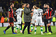 Norwich City manager Daniel Farke consoles his players at full time after Bournemouth won 2-1 during the EFL Cup 4th round match between Bournemouth and Norwich City at the Vitality Stadium, Bournemouth, England on 30 October 2018.