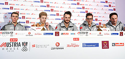 09.02.2018, Austria House, Pyeongchang, KOR, PyeongChang 2018, Pressekonferenz, im Bild Pk Springen Herren v.l.Stefan Kraft, Michael Hayböck, Manuel Fettner, Gregor Schlierenzauer und Trainer Heinz Kuttin // Pk Springen Herren v.l.Stefan Kraft, Michael Hayböck, Manuel Fettner, Gregor Schlierenzauer und Trainer Heinz Kuttin during a Pressconference of the Austrian Olympic Team in the Austria House in Pyeongchang, South Korea on 2018/02/09. EXPA Pictures © 2018, PhotoCredit: EXPA/ Erich Spiess