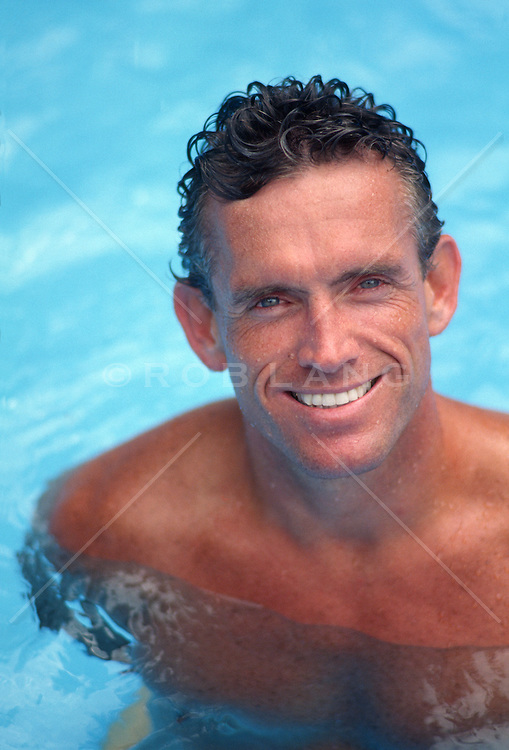 Good looking man in a swimming pool