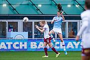 Manchester City Women midfielder Jill Scott (8) heads the ball during the FA Women's Super League match between Manchester City Women and West Ham United Women at the Sport City Academy Stadium, Manchester, United Kingdom on 17 November 2019.