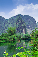Bamboo raft floating down the  Dragon River near Yangshuo.