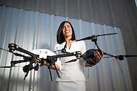 Trumbull Unmanned integrates unmanned aircraft systems (drones) into the oil and gas industry to increase safety and operational efficiency. It's owned by Dyan Gibbens, a U.S. Air Force veteran. On Saturday, she will participate in the Veterans Business Battle, where veterans pitch their business ideas to a panel of investors at Rice University. Feb. 26, 2015 in Houston.<br /> <br /> (Eric Kayne/For the Chronicle)