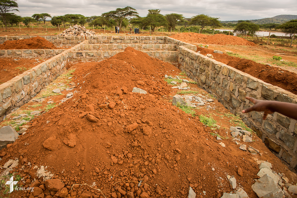 The foundation of the new Lenkishon ELCK (Evangelical Lutheran Church in Kenya) Project 24 construction site on Saturday, June 25, 2016, in Lenkishon, Kenya.  LCMS Communications/Erik M. Lunsford