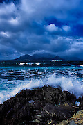 Waves crashing on Robben Island, Cape Town, South Africa