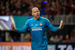 December 8, 2018 - Atlanta, Georgia, United States - Atlanta United goalkeeper BRAD GUZAN (1) pumps up the crowd late in the game during the MLS Cup at Mercedes-Benz Stadium in Atlanta, Georgia.  Atlanta United defeats Portland Timbers 2-0 (Credit Image: © Mark Smith/ZUMA Wire)