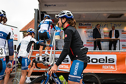 Riders of Bigla Pro Cycling Team with Annemiek van Vleuten and Vera Koedooder waiting for the sign-on at the Holland Ladies Tour, Zeddam, Gelderland, The Netherlands, 1 September 2015.<br /> Photo: Pim Nijland / PelotonPhotos.com