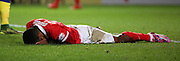 Charlton Athletic striker Ricardo Vaz Te cannot believe he missed a golden opportunity during the Sky Bet Championship match between Charlton Athletic and Leeds United at The Valley, London, England on 12 December 2015. Photo by Matthew Redman.