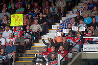 KELOWNA, CANADA - APRIL 17: Fans have some fun with the referee's call on April 17, 2016 at Prospera Place in Kelowna, British Columbia, Canada.  (Photo by Marissa Baecker/Shoot the Breeze)  *** Local Caption *** fans