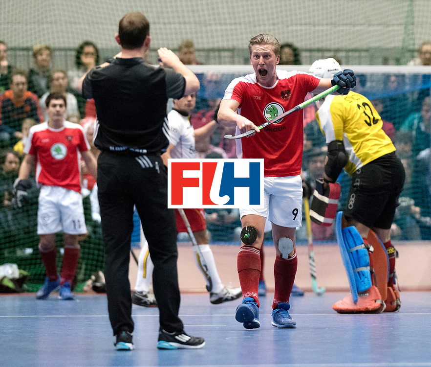 BERLIN - Indoor Hockey World Cup<br /> Austria - Belgium<br /> foto: K&Ouml;RPER Michael and Lee Barron<br /> WORLDSPORTPICS COPYRIGHT FRANK UIJLENBROEK