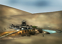 Located at the northern most tip of Gansu Provice in China lies an ancient oasis in the heart of the Singing Sands Desert.