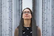 Impenetrable 2009 - Mona Hatoum a new Tate Modern exhibition. It presents around 100 works from the 1980s to the present day, including early performances and video, sculpture, installation, photography and works on paper. Mona Hatoum runs from 4 May to 21 August 2016.<br /> <br /> Highlights include:  Large-scale installations that fill entire rooms, including Impenetrable 2009, a suspended square formed of hundreds of delicate rods of barbed wire which hover above the floor, and Light Sentence 1992, in which walls of wire mesh lockers and a single lightbulb cast constantly moving shadows; Hot Spot 2013, a giant globe that uses red neon to outline the contours of the continents; a kinetic sculpture in which a rotating motor-driven arm draws circular lines across a large sandpit; and Homebound 2000, an installation of kitchen utensils and furniture which buzzes with electricity