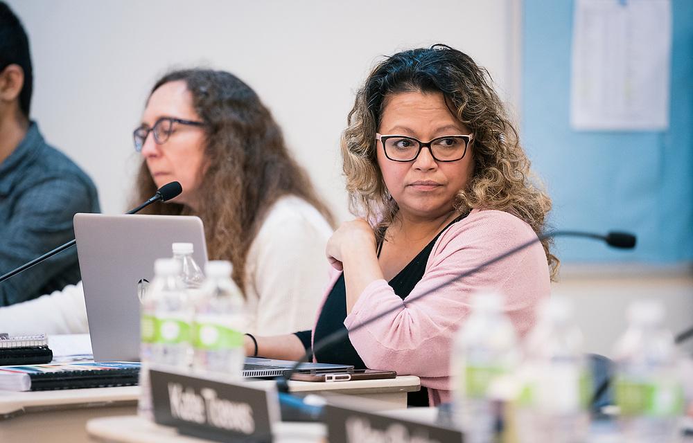 Madison Metropolitan School Board member Gloria Reyes looks on following the MMSD board swearing-in ceremony at Cesar Chávez Elementary School in Madison, WI on Monday, April 29, 2019.