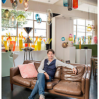 Mark Douglass in his Burnley showroom. Mark is a glass designer.<br /> Picture by Shannon Morris for Homestyle Magazine. 18.2.16