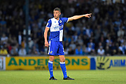 Tom Davies (16) of Bristol Rovers pointing, directing, signalling during the EFL Cup match between Bristol Rovers and Brighton and Hove Albion at the Memorial Stadium, Bristol, England on 27 August 2019.