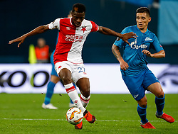 October 4, 2018 - Saint Petersburg, Russia - Matias Kranevitter (R) of FC Zenit Saint Petersburg and Ibrahim Traore of SK Slavia Prague vie for the ball during the Group C match of the UEFA Europa League between FC Zenit Saint Petersburg and SK Sparta Prague at Saint Petersburg Stadium on October 4, 2018 in Saint Petersburg, Russia. (Credit Image: © Mike Kireev/NurPhoto/ZUMA Press)