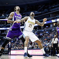 06 March 2017: Denver Nuggets forward Wilson Chandler (21) vies for the rebound with Sacramento Kings center Willie Cauley-Stein (00) during the Denver Nuggets 108-96 victory over the Sacramento Kings, at the Pepsi Center, Denver, Colorado, USA.