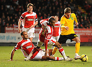 London - Saturday, January 3rd, 2009: Arturo Lupoli of Norwich City takes the ball around 2 Charlton defenders to score the equaliser during the FA Cup Third Round match at The Valley, London. (Pic by Alex Broadway/Focus Images)