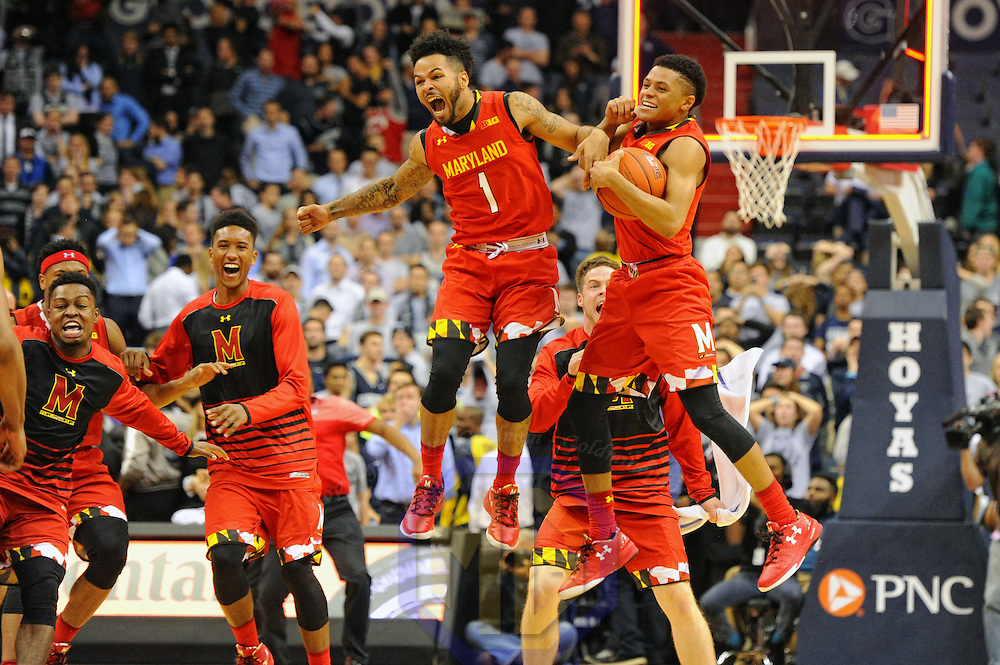 WASHINGTON, DC - NOVEMBER 15: Maryland Terrapins guard Jaylen Brantley (1) jumps in the air with guard Anthony Cowan (0) as the game ends on November 15, 2016, at the Verizon Center in Washington, D.C. where the Maryland Terrapins came back from a 9 point deficit to defeat the Georgetown Hoyas, 76-75.  (Photo by Mark Goldman/Icon Sportswire)
