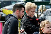 Lewis Cook (16) of AFC Bournemouth signing autographs on arrival before the Premier League match between Bournemouth and Crystal Palace at the Vitality Stadium, Bournemouth, England on 7 April 2018. Picture by Graham Hunt.