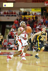 "18 January 2007: Keith ""Boo"" Richardson is paralleled by Matt Braeuer on a drive. The Shockers of Wichita State were shut off by the Redbirds by a score of 83-75 at Redbird Arena in Normal Illinois on the campus of Illinois State University."