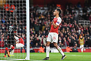 Arsenal Forward Pierre-Emerick Aubameyang (14) rues a miss during the Europa League round of 16, leg 2 of 2 match between Arsenal and Rennes at the Emirates Stadium, London, England on 14 March 2019.