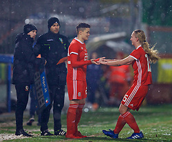 CESENA, ITALY - Tuesday, January 22, 2019: Wales' Grace Horrell replaces Elise Hughes to make her debut during the International Friendly between Italy and Wales at the Stadio Dino Manuzzi. (Pic by David Rawcliffe/Propaganda)