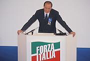 Sivio Berlusconi, leader of Forza Italia (political party), speaks at Forza Italia national convention in Rome, February 6, 1994. © Carlo Cerchioli..Silvio Berlusconi, leader di Forza Italia, parla al Convegno Nazionale del nuovo partito a Roma, 6 febbraio 1994.