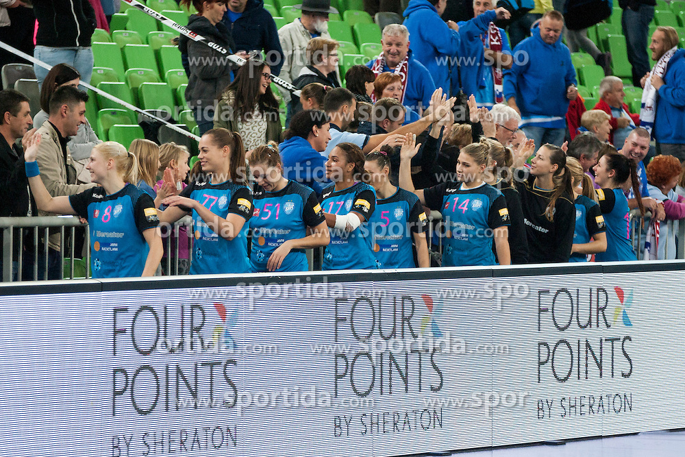 Players of RK Krim Mercator after handball match between RK Krim Mercator (SLO) and HCM Baia Mare (ROM) in 1st Round of Women's EHF Champions League 2015/16, on October 16, 2015 in Arena Stozice, Ljubljana, Slovenia. Photo by Urban Urbanc / Sportida