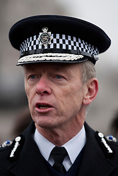 © Licensed to London News Pictures. 08/02/2012. LONDON, UK. Metropolitan Police Service commissioner Bernard Hogan Howe is seen at an Operation Trident press call at Trafalgar Square in London today (08/02/12). Operation Trident, is a Metropolitan Police Service initiative set up to focus on gang and black on black crime. Photo credit: Matt Cetti-Roberts/LNP