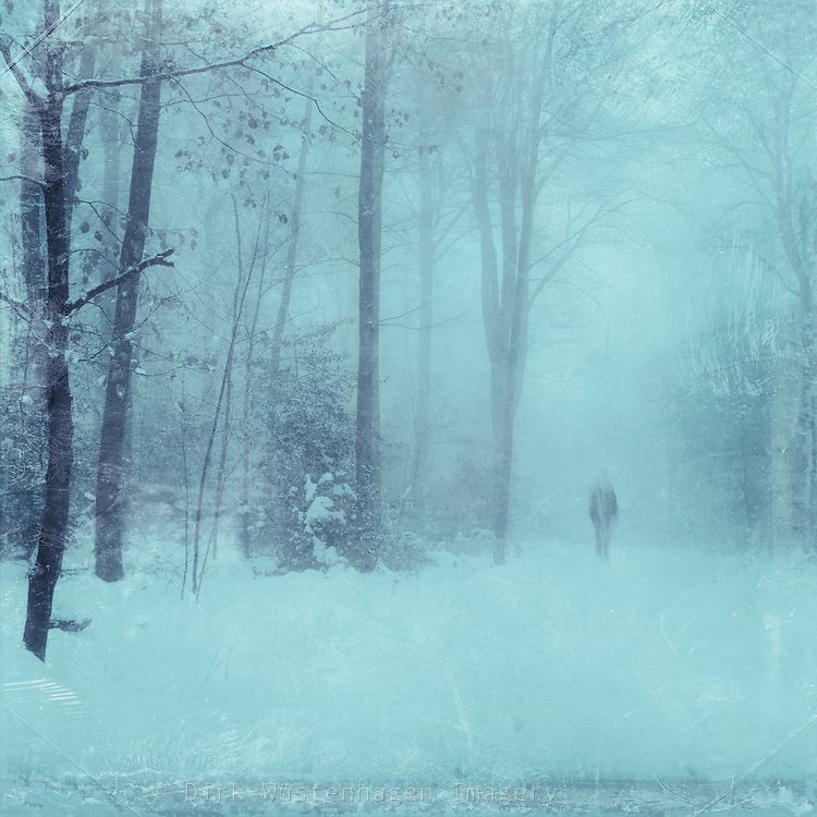 Man vanishing into the snow and fog. Tinted and texturized photo.<br />