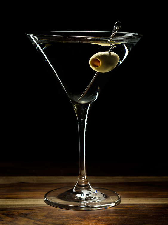 Dedham, MA 03/10/2014<br /> Tito's Vodka Martini, one olive.<br /> Alex Jones / www.alexjonesphoto.com