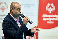 Katowice, Poland - 2017 September 03: Dariusz Wosz from Special Olympics Poland speaks while Awarding Ceremony during European Unified Volleyball Tournament 2017 at Spodek Hall on September 03, 2017 in Katowice, Poland.<br /> <br /> Adam Nurkiewicz declares that he has no rights to the image of people at the photographs of his authorship.<br /> <br /> Picture also available in RAW (NEF) or TIFF format on special request.<br /> <br /> Any editorial, commercial or promotional use requires written permission from the author of image.<br /> <br /> Image can be used in the press when the method of use and the signature does not hurt people on the picture.<br /> <br /> Mandatory credit:<br /> Photo by © Adam Nurkiewicz / Mediasport