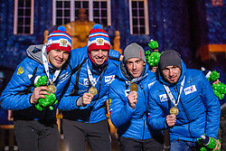 March 16, 2019 - –Stersund, Sweden - 190316 Matvey Eliseev, Nikita Porshnev, Dmitry Malyshko and Alexander Loginov of Russia celebrate  during the medal ceremony for the Men's 4x7,5 km Relay during the IBU World Championships Biathlon on March 16, 2019 in Östersund..Photo: Petter Arvidson / BILDBYRÃ…N / kod PA / 92270 (Credit Image: © Petter Arvidson/Bildbyran via ZUMA Press)