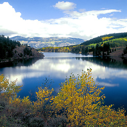Beginning of Fall at a high mountain lake, Colorado.