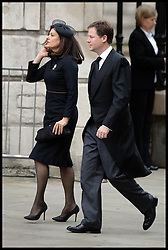 Deputy Pm Nick Clegg and his wife Miriam attend Lady Thatcher's funeral at St Paul's Cathedral following her death last week, London, UK, Wednesday 17 April, 2013, Photo by: Andrew Parsons / i-Images
